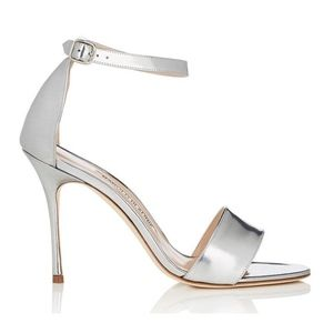 New Manolo Blahnik Tres Sandals Silver SZ 39